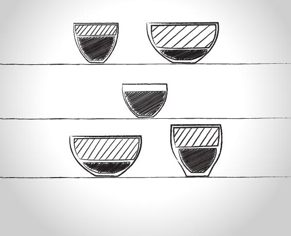 Espresso-Milch-Volumenverhaeltnisse